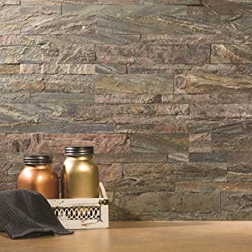Aspect Peel And Stick Stone Overlay Kitchen Backsplash Weathered Quartz Approx 15 Sq