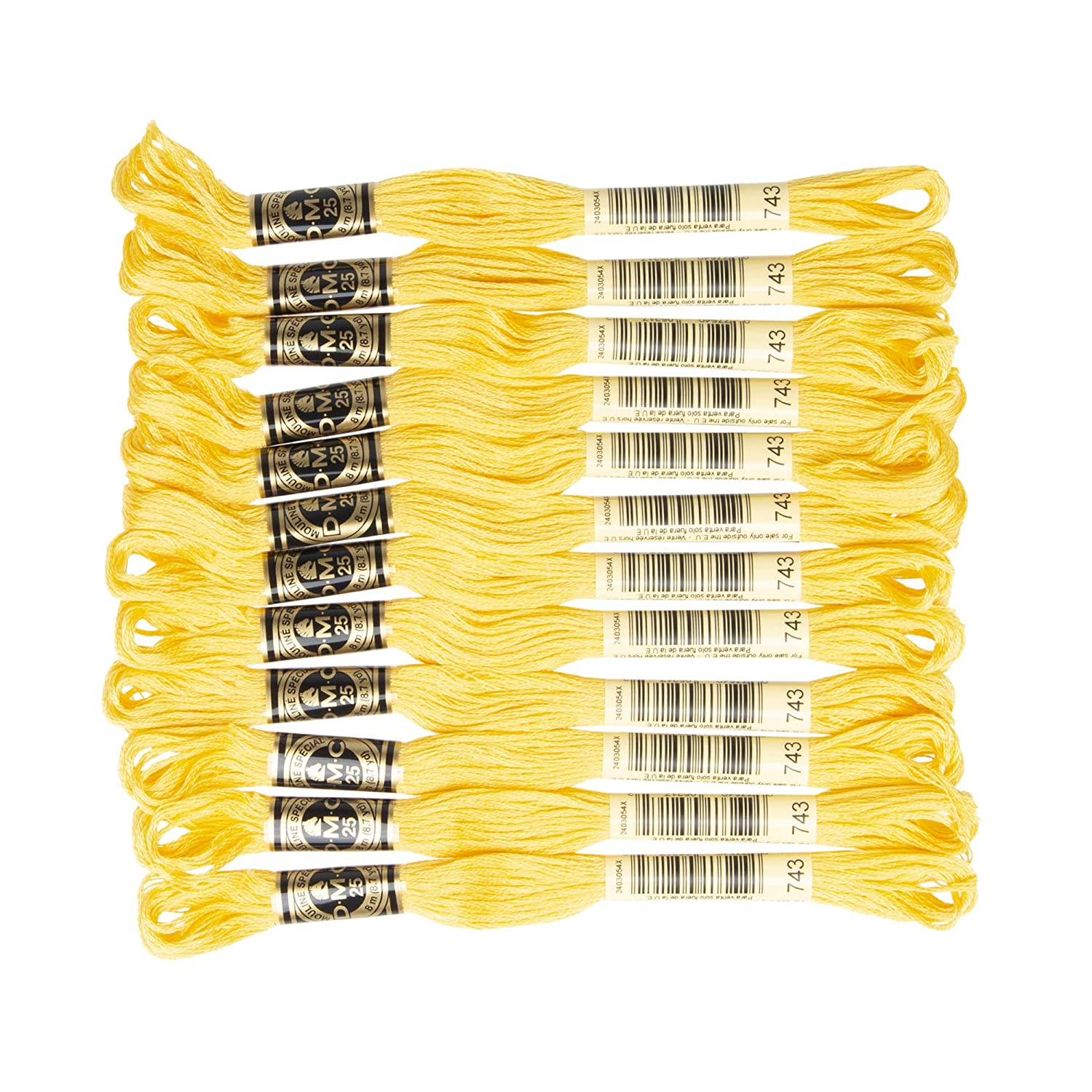 DMC 6-Strand Embroidery Cotton Floss Medium Yellow Pack of 12