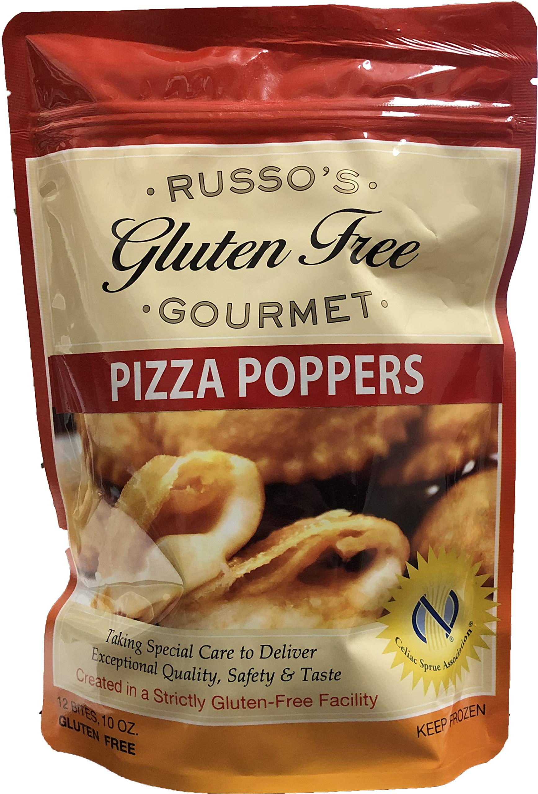Russo's Gluten Free Pizza Popper 10oz, (Pack of 3) The Best Tasting Pizza Poppers in Market w/Fresh Mozzarella Cheese wrapped - Frozen Appetizers,Bite Size Cheese Pizza NYC Style,Home Made Hot Popper by Russo's Gluten Free Gourmet