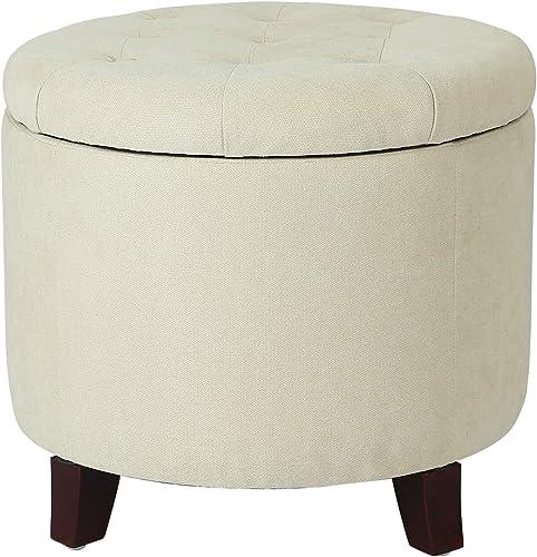 Decent Home Storage Ottoman Fabric Wood 19.7 x 19.7 x 17.9 Inches Round Beige