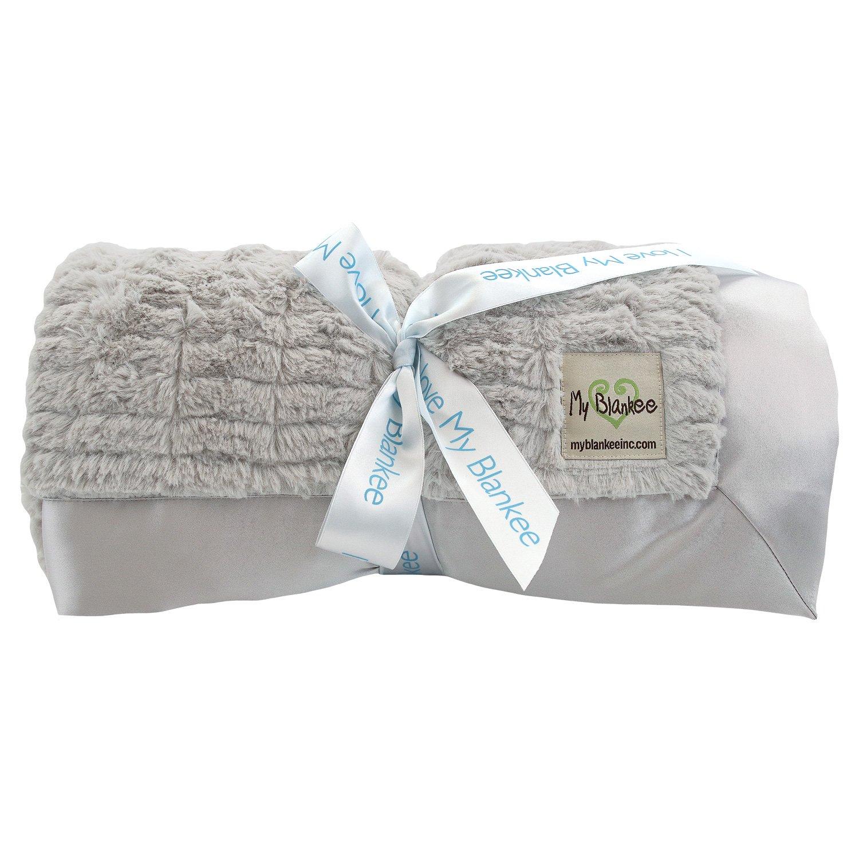 My Blankee Luxe Stripe Super Throw Blanket, Silver, 60'' X 70''
