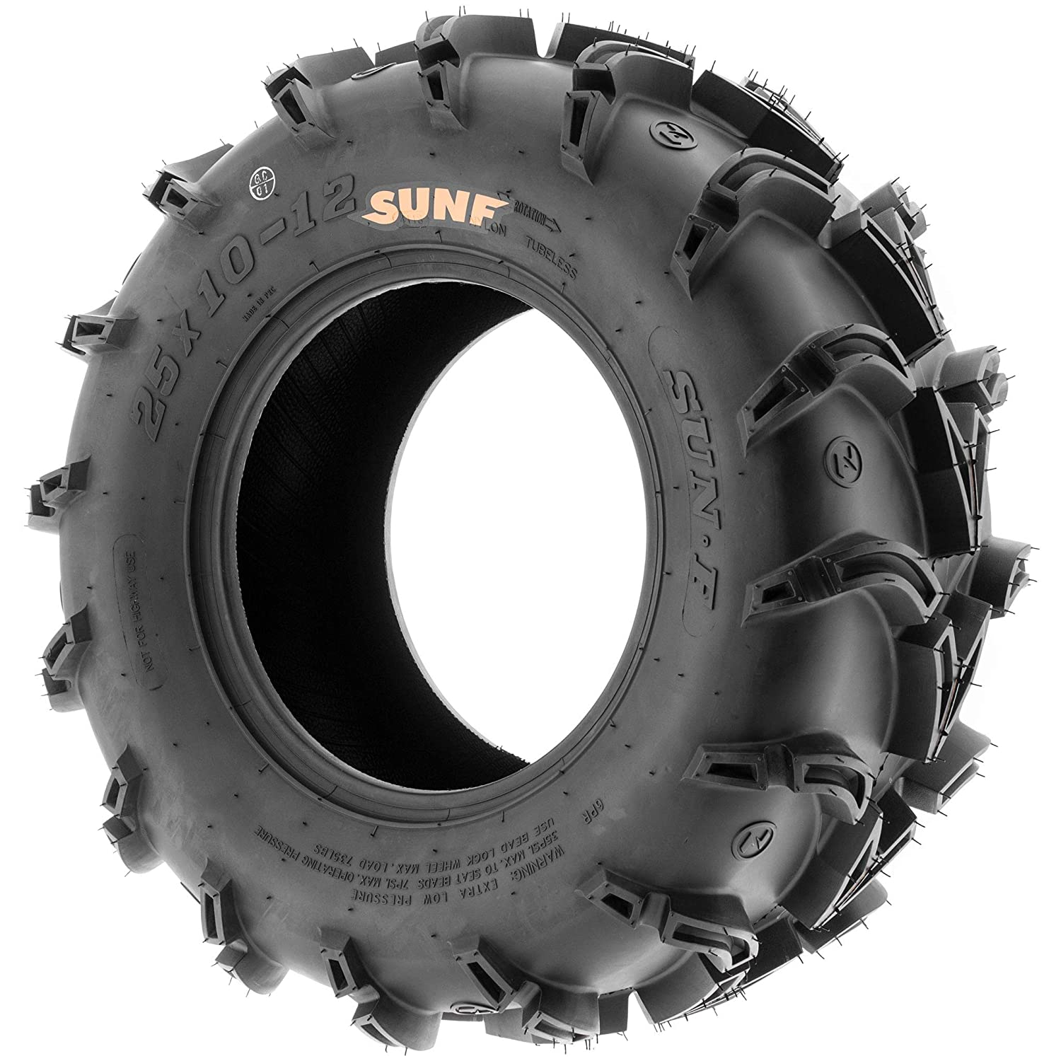 SunF Mud Race Replacement ATV UTV 6 Ply Tires 25x8-12 25x8x12 Tubeless A050, Set of 4