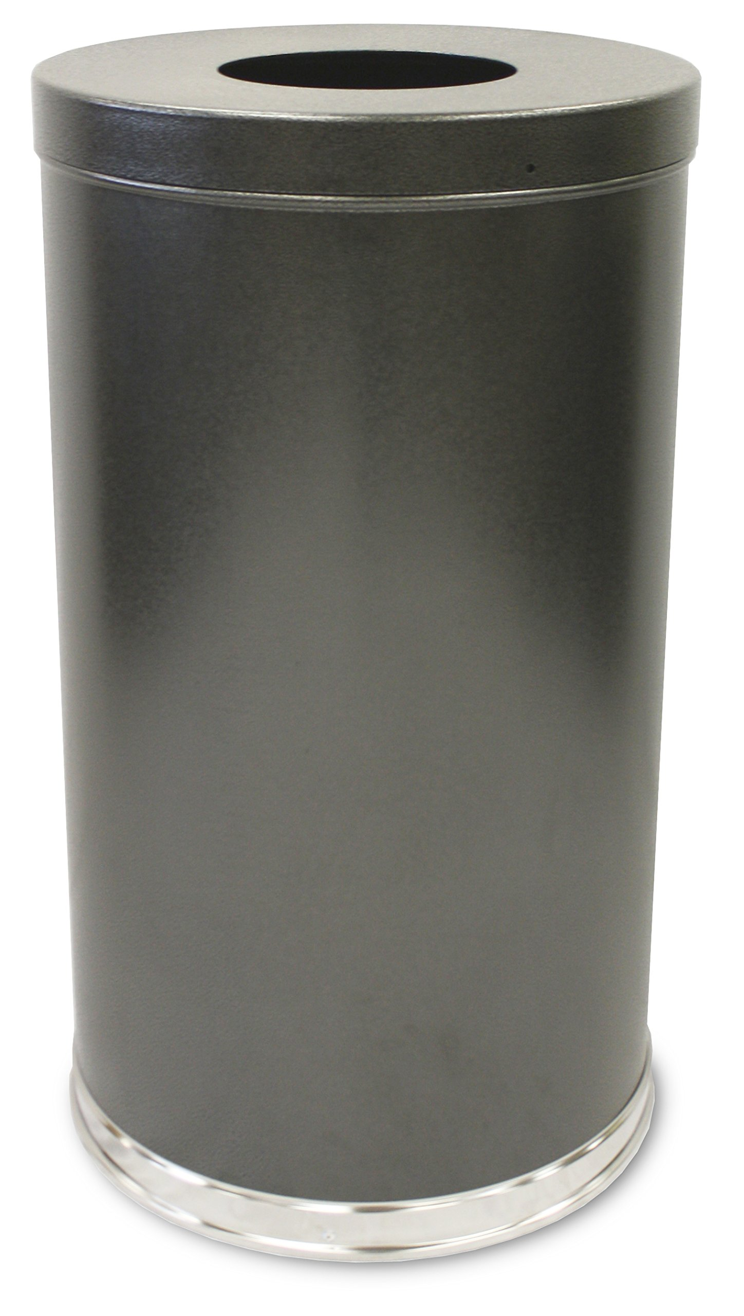 Witt Industries 35FTSVN Steel 35-Gallon Open Top Waste Receptacle with Plastic Liner, Round, 18'' Diameter x 33'' Height, Silver