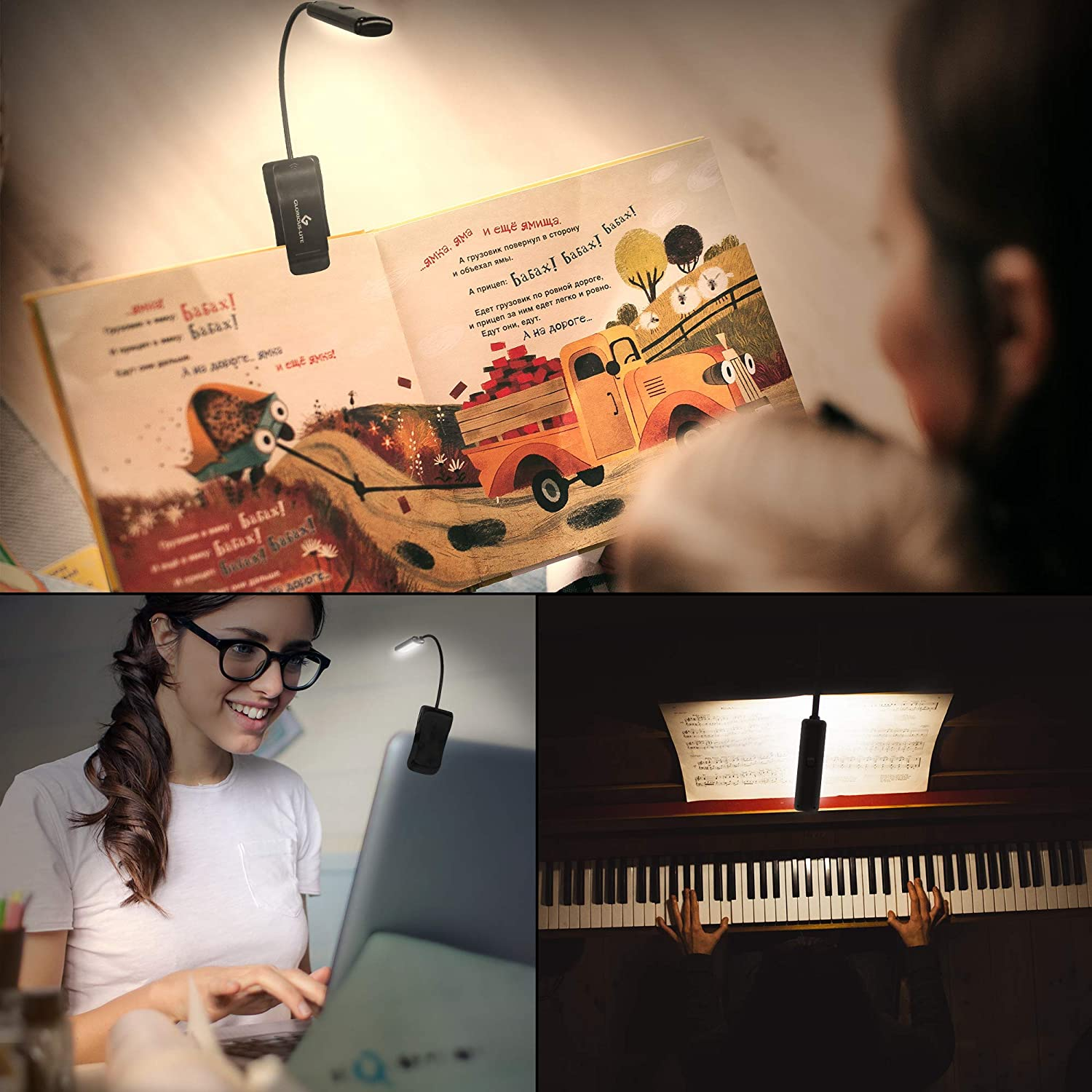 GLORIOUS-LITE 10 LED Book Light Lightweight/&Eye Caring 2 Brightness Perfect for Bookworms USB/&Battery Operated Portable Music Stand Light Reading Lights with Warm//White//Natural Light