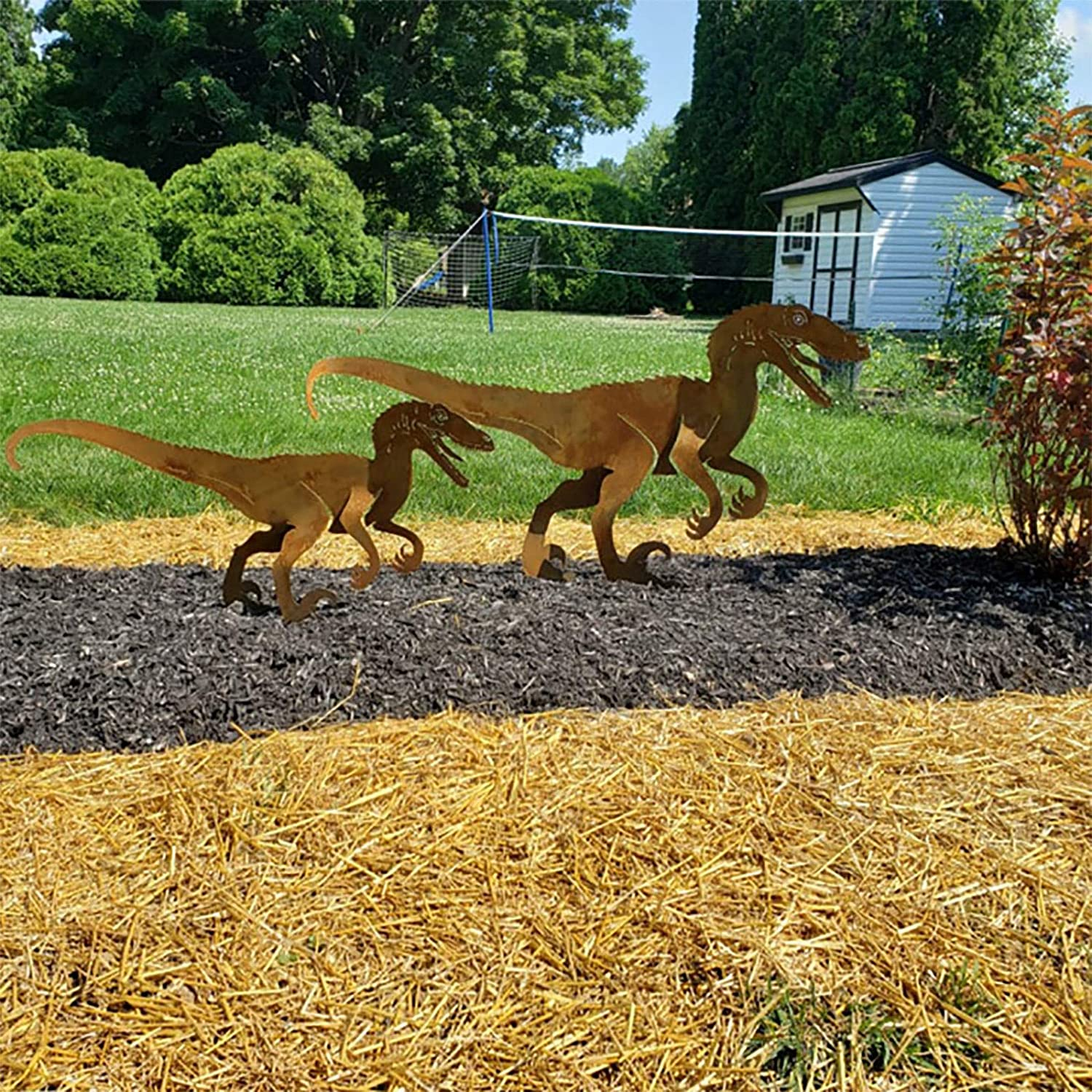 Paity Dinosaur Metal Animal Stakes, Dinosaur Garden Silhouette, Metal Garden Fence Stake for Lawn Outdoor Patio Home Decor, Yard Art for Festival Gifts Set