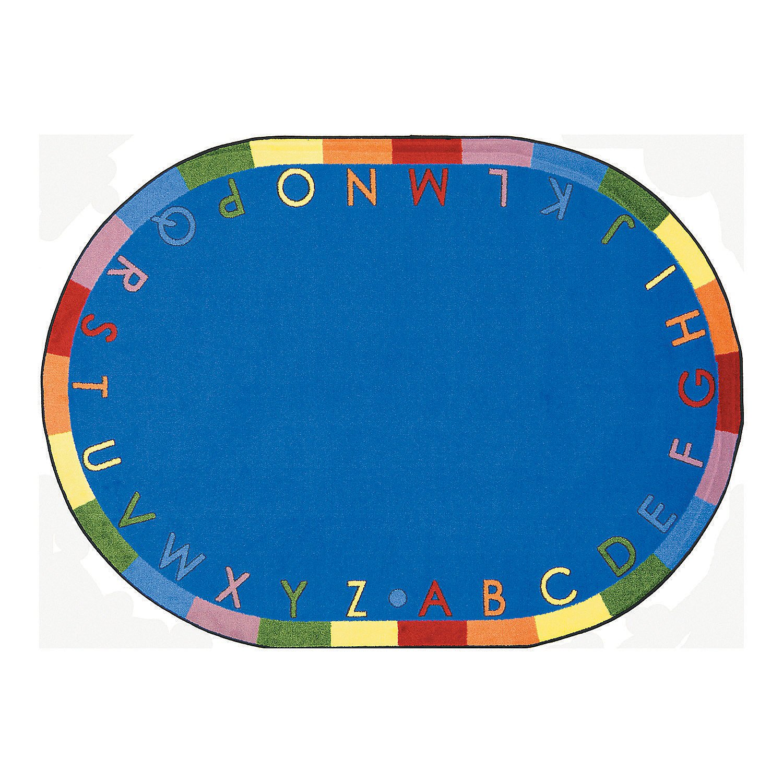 Rainbow Alphabet Classroom Rug - 7 ft. 8'' x 10 ft. 9'' Oval Soft