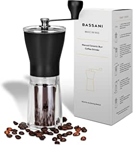 Manual Ceramic Burr Coffee Bean Grinder | Macinino by Bassani | Ceramic Conical Adjustable Burr Assembly for Precision Brewing