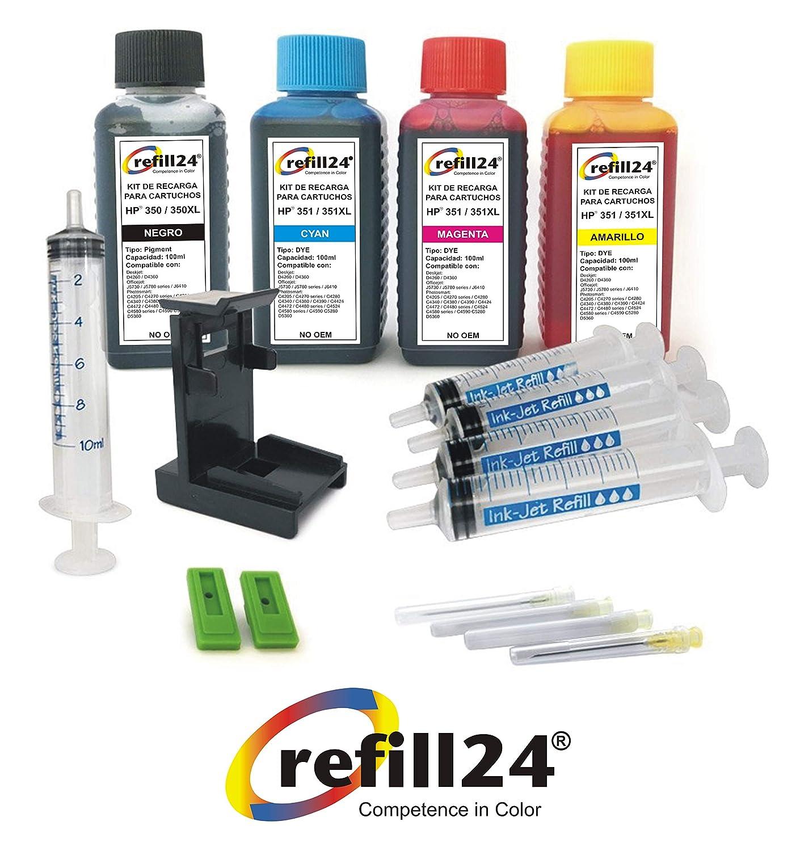 refill24 Kit de recharge pour cartouches d'encre HP 350/351/350 XL/351 XL avec flacons d'encre noire et couleur de haute qualité /clip/accessoires
