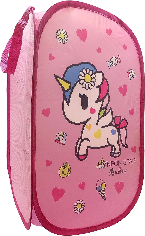 "Jay Franco Tokidoki Neonstar Hearts Pop Up Hamper - Features Stellina Unicorno - Mesh Laundry Basket/Bag with Durable Handles, 22"" x 14"" (Official Tokidoki Product)"