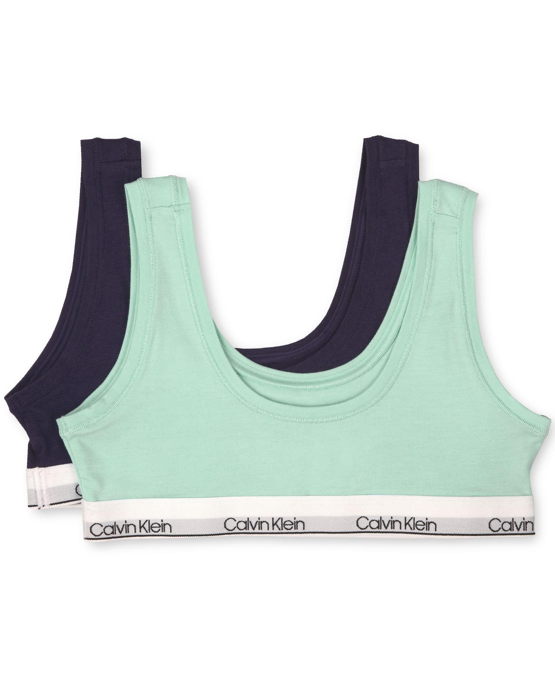 Calvin Klein Big Girls' Modern Cotton Bralette, 2 Pack - Teal, Symphony by Calvin Klein