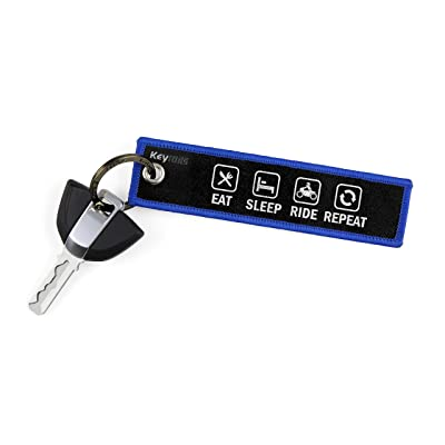 KEYTAILS Keychains, Premium Quality Key Tag for Motorcycle, Car, Scooter, ATV, UTV [Eat Sleep Ride Repeat]: Automotive
