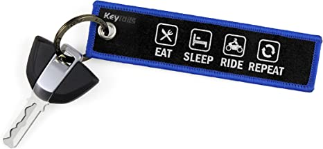 Eat Sleep Ride Repeat KeyTails Premium-Qualit/ät Motorrad Schl/üsselanh/änger Schl/üsselring Kratzfest Ideal f/ür Ihr Motorrad Auto