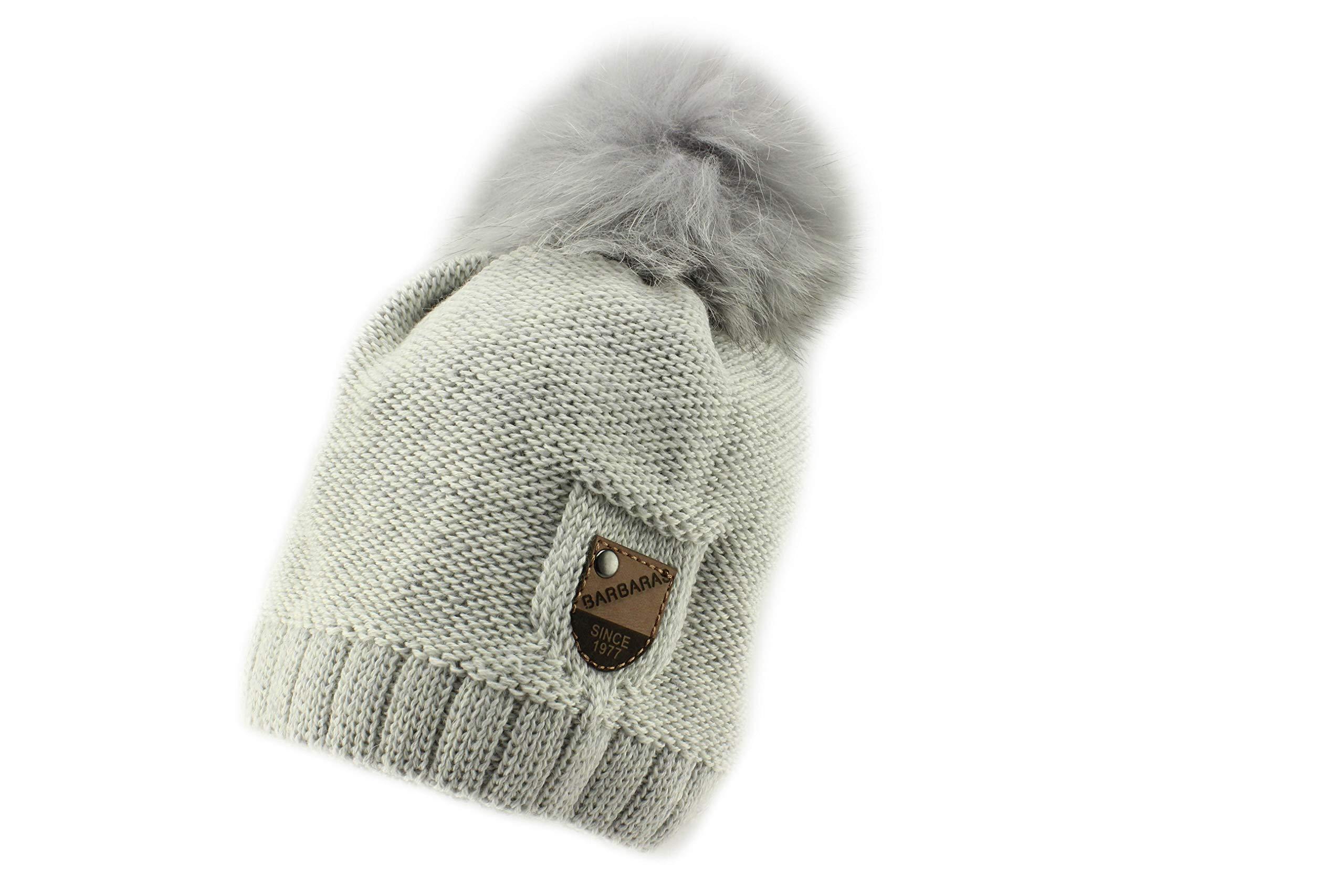 Barbaras Boys Grey Warm Winter Natural Fur Pom Pom Beanie Hat