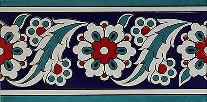 "10 Turkish Light Blue 4/""x8/"" Iznik Ceramic Tulip /& Daisy Pattern Tile Border"