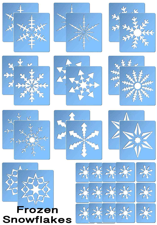 Glitter Tattoo Themed Stencil Set - Frozen Snowflakes