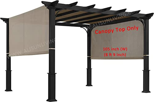 ALISUN Replacement Sling Canopy with Ties for The Lowe s Garden Treasures 10 FT Pergola S-J-110 TP15-048C Beige Canopy TOP ONLY