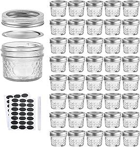4oz / 120ml Mason Jars Glass Canning Jars, Jelly Jars With Regular Lids, Ideal for Honey,Jam,Wedding Favors,Shower Favors,Baby Foods, Set of 40