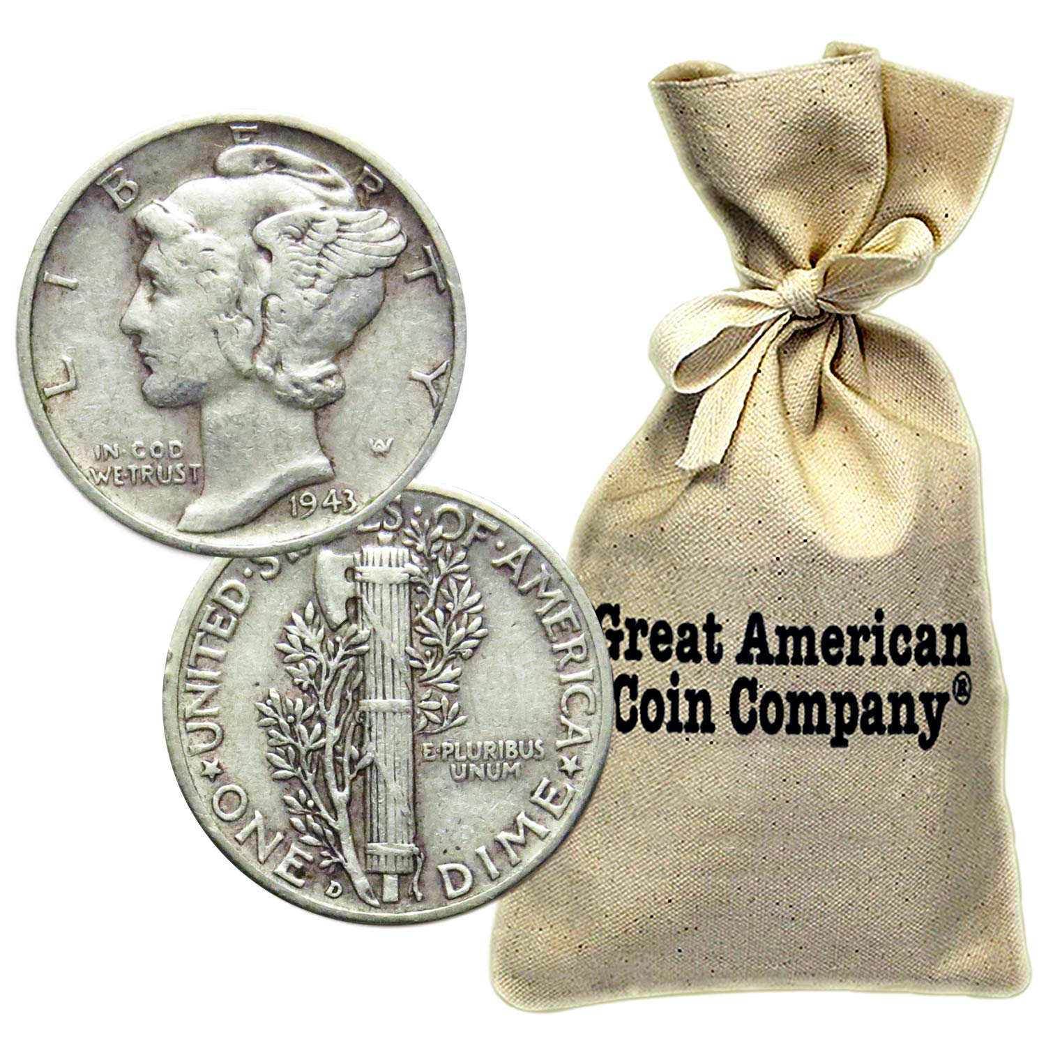 ASSORTED DATES $100 FACE VALUE 1000 SILVER MERCURY DIMES BAG TRULY UNSEARCHED