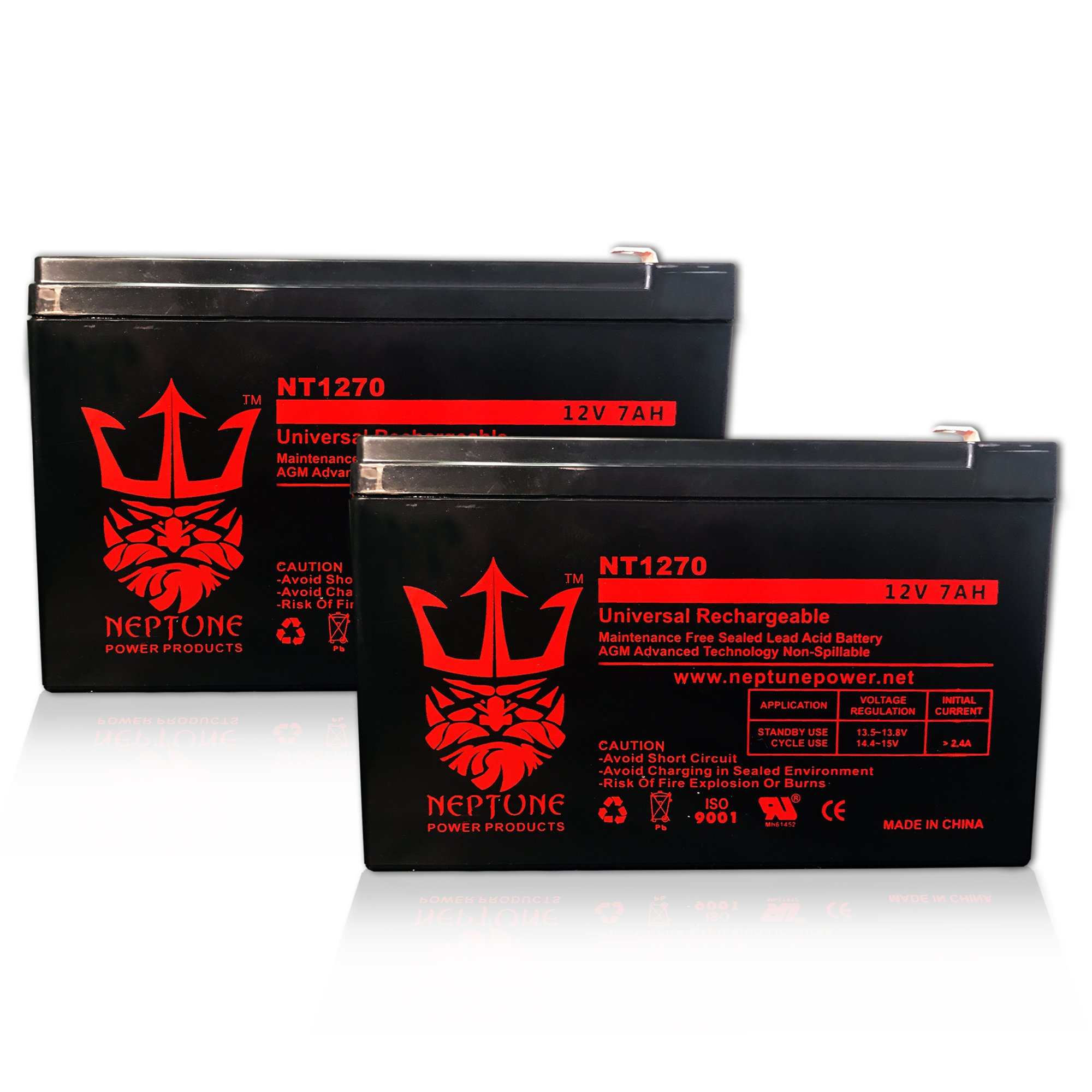 12V 7Ah Replacement Battery FM150 / GTO Gate Openers NT1270 by Neptune - 2 Pack