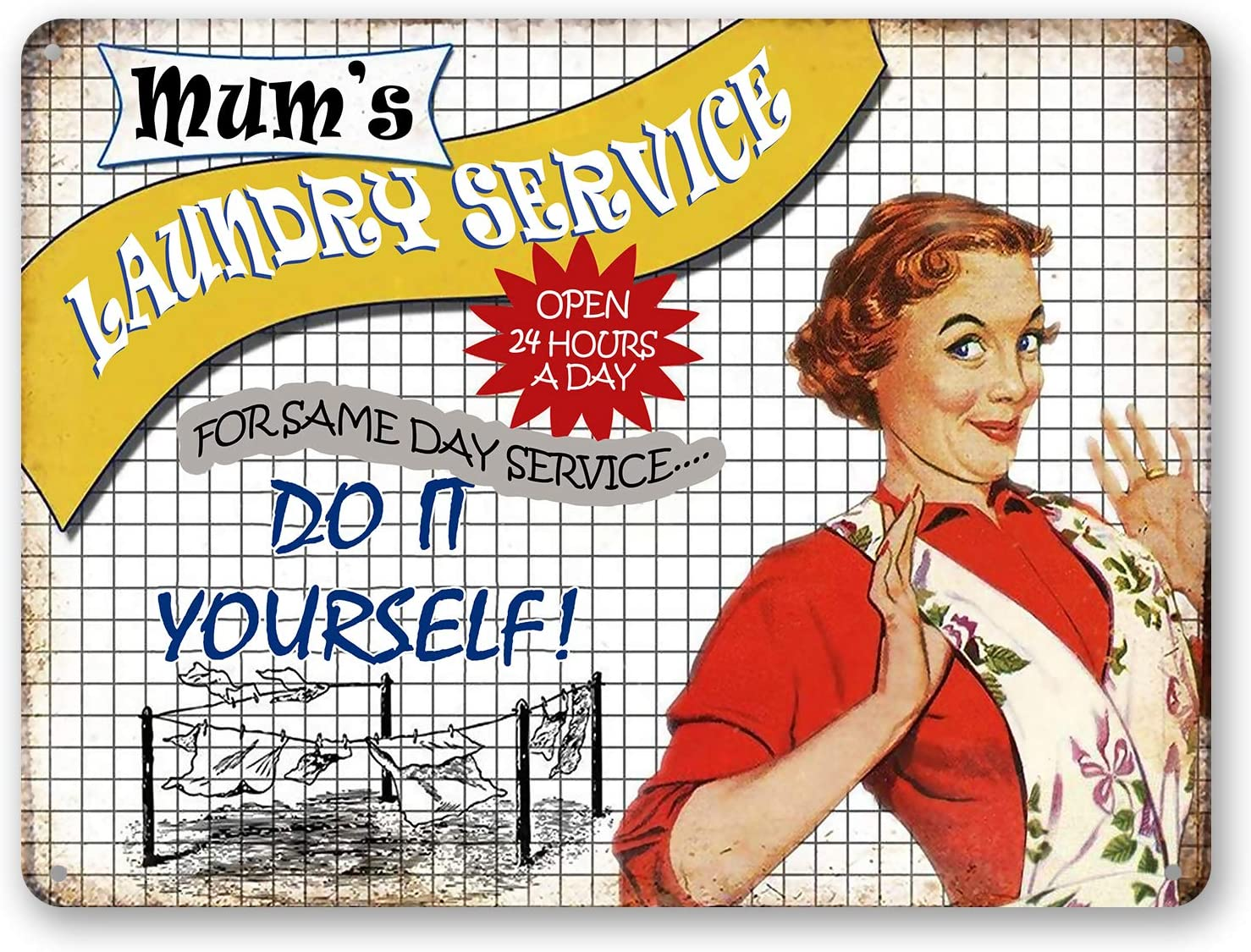 Goutoports Laundry Room Vintage Metal Sign Mum's Laundry Service Decorative Signs Wash Room Home Decor Art Signs 7.9x11.8 Inch