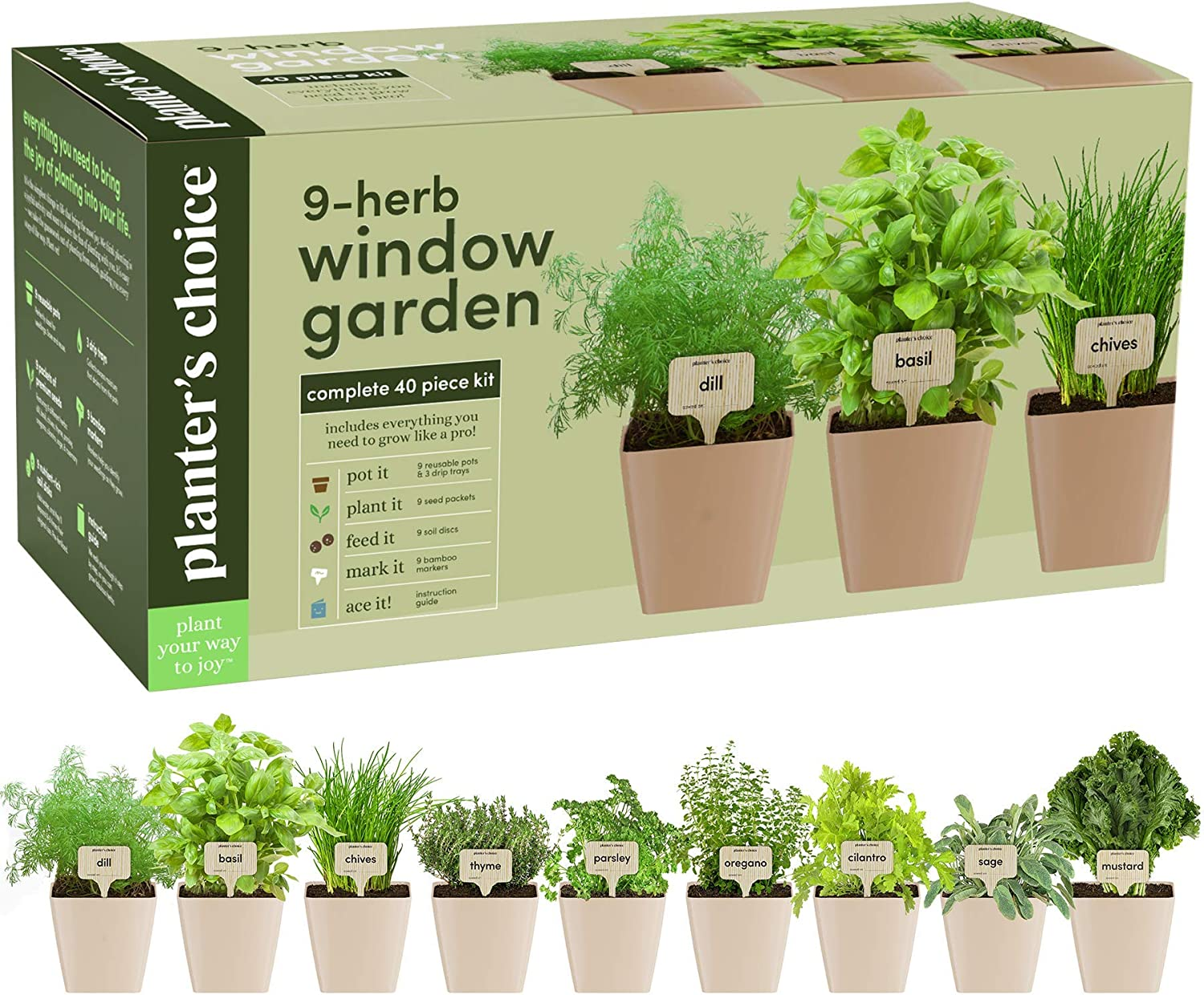 Amazon Com 9 Herb Window Garden Indoor Organic Herb Growing Kit Kitchen Windowsill Starter Kit Easily Grow 9 Herbs Plants From Seeds With Comprehensive Guide Unique Gardening Gifts For,Forever Rose In Glass Dome