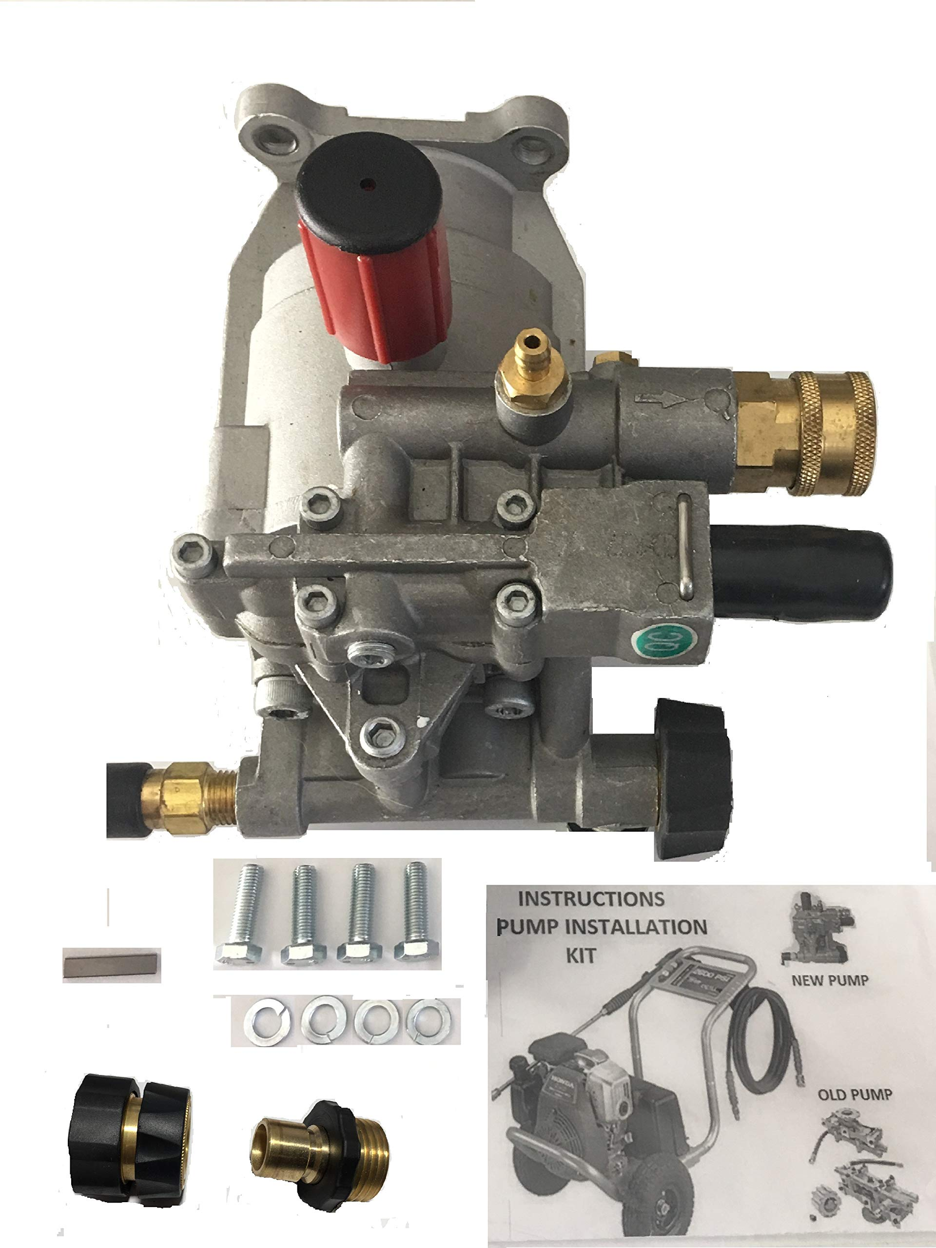 New Pumps-n-More Excell Replacement Pump XR2500 XR2600 XC2600 EXHA2425 XR2625 Pressure Washer Pump Kit with Garden Hose QC and Pressure QC Hose Adapters by ExceII