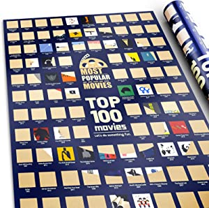 100 Movie Posters Scratch Off Movie Poster Top Movie Gifts for Movie lovers with Scratching Tool Top Films of All Time Bucket List Movie night Posters for Room Aesthetic Decor Wall Art for bedroom (16.5