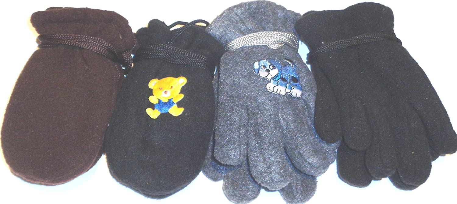 Set of Four Pairs Very Warm Fleece Gloves Mittens for Infants Ages 6-24 Months
