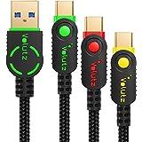 USB3.0 Type Cケーブル, Volutz 5Gbps高速データ転送 3.0A急速充電 3本セット(2m, 1m, 0.3m)ナイロン・金メッキEquilibrium+