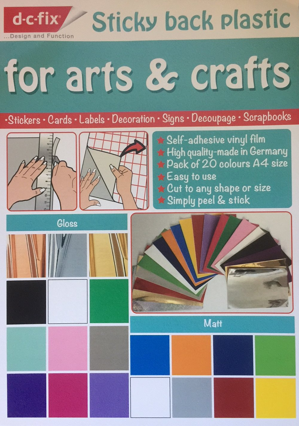 d-c-fix Sticky Back Plastic (Self Adhesive Vinyl Film) 20 Multi Coloured Craft Pack (Glossy, Matt and Metallic) A4 Size