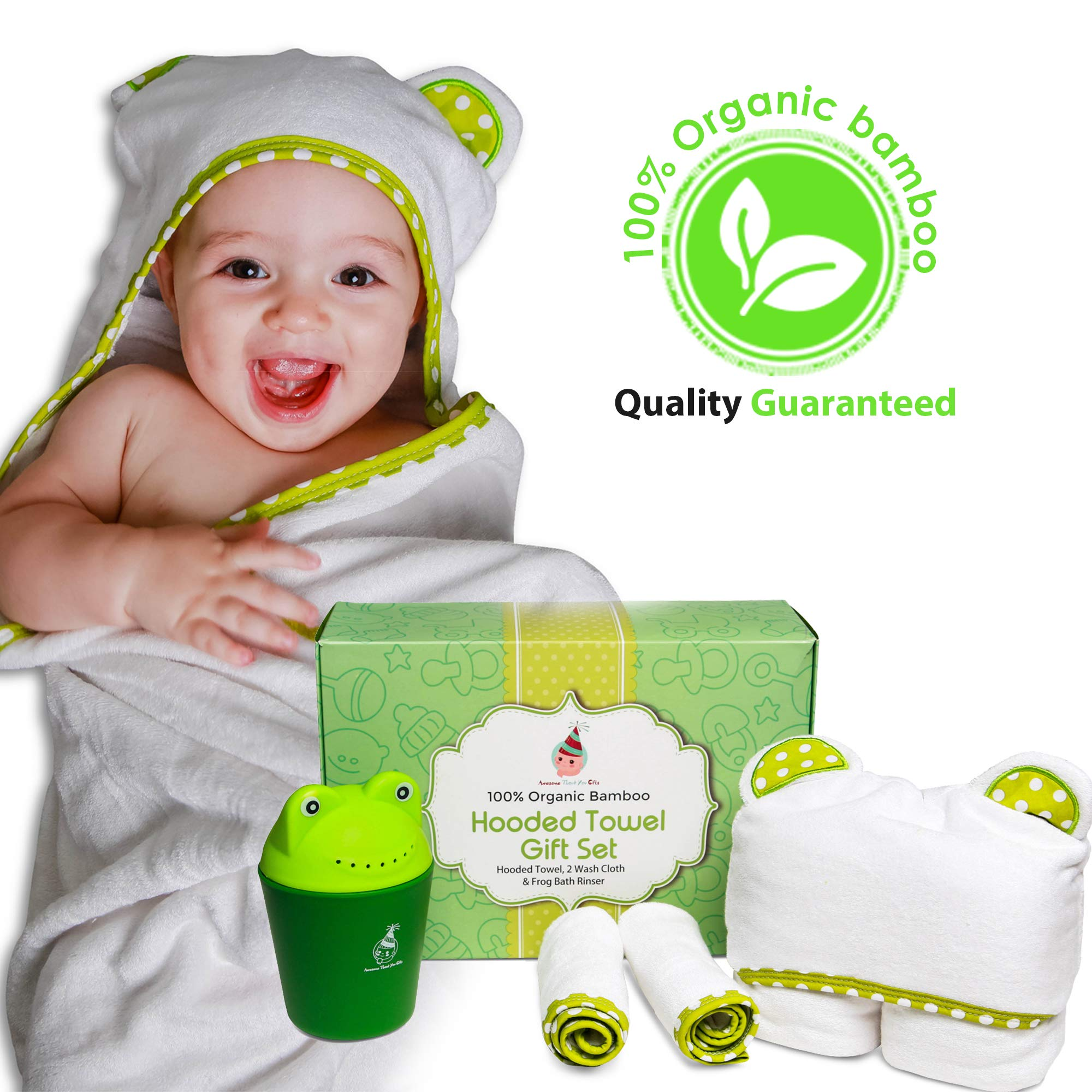 100% Organic Bamboo Hooded Baby Towel Gift Set with 2 wash Cloth and Frog Shampoo Rinser Cup | 0-5 Years Old | Perfect as a Gift | Beach Towel |Unique,Unisex, Perfect for Newborn, Infant and Toddlers by Awesome Thank You Gifts