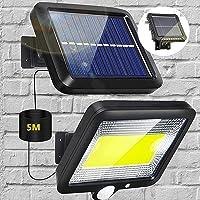 Solarlampen voor buiten, 100LED zonnelicht met bewegingsdetector, zonne-energie IP65 Waterdichte wandlamp Solar…