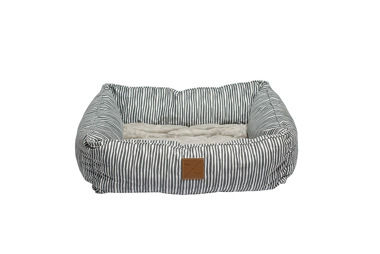 MOG & BONE Bolster Dog Bed Grey Stripe Print Small