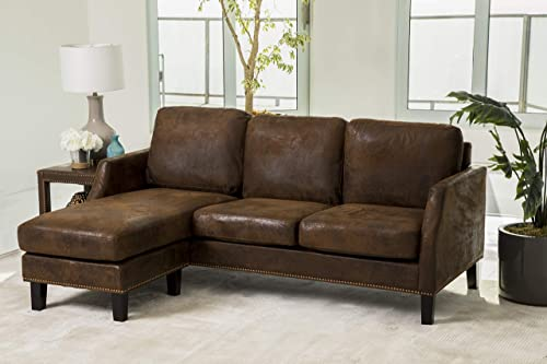 Abbyson Living Reversible Chaise Lounge Faux Leather Sectional Sofa
