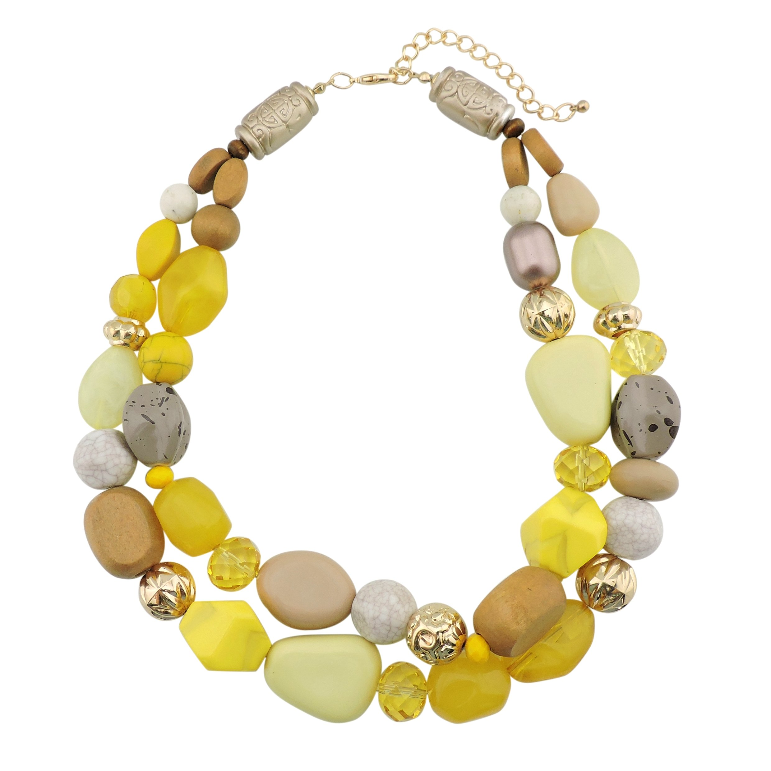 Bocar 2 Layer Statement Chunky Beaded Fashion Necklace for Women Gifts (NK-10384-yellow)