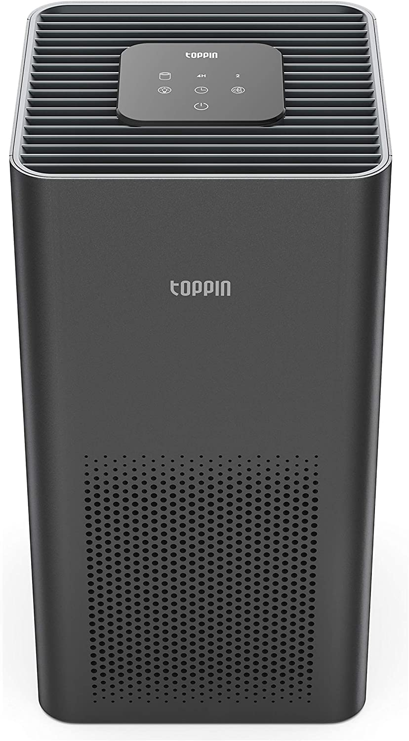 TOPPIN HEPA Air Purifiers for Home Large Room Up to 215ft²- Ultra-Silent Air Cleaner with Brushless Motor H13 HEPA Filter for 99.97% Pollen, Allergies, Pets Hair, Dander, Dust (1, black)