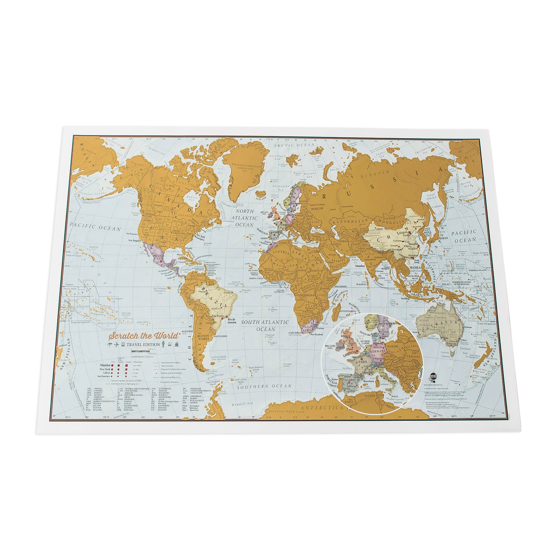 Maps International Scratch the World Travel Edition Map Print –– 16.53 x 11.69 in