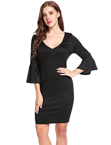 ANGVNS Women Deep V Flare Sleeve Wear To Work Casual Bodycon Sheath Dress