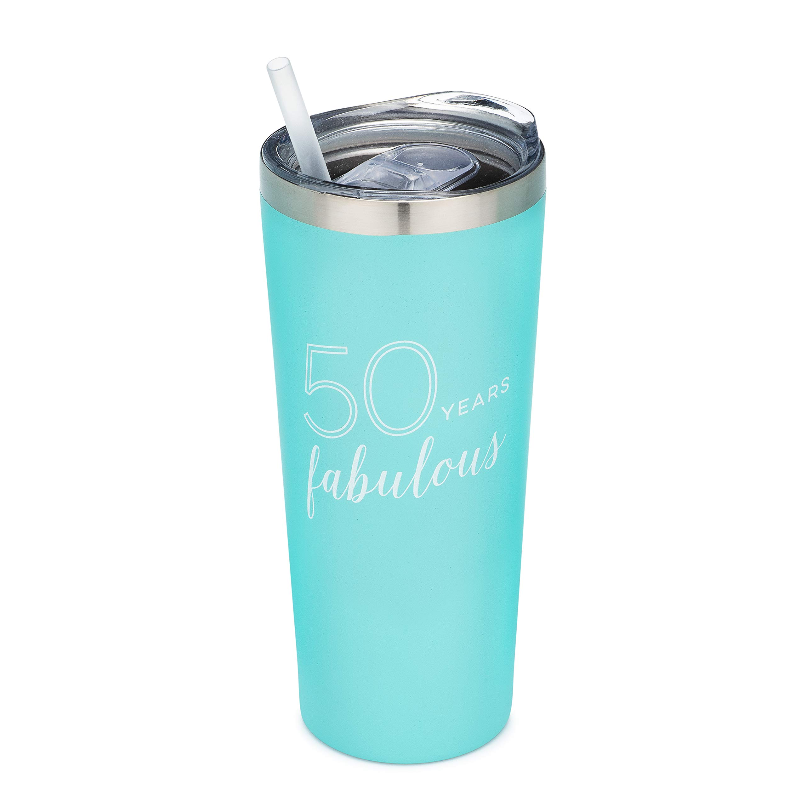50 Years Fabulous | 22 oz MINT Insulated Tumbler with Lid and Straw - 50th Birthday Gift for Her | Friend | Coworker | Sister | Sister in Law | Mom | Mother in Law