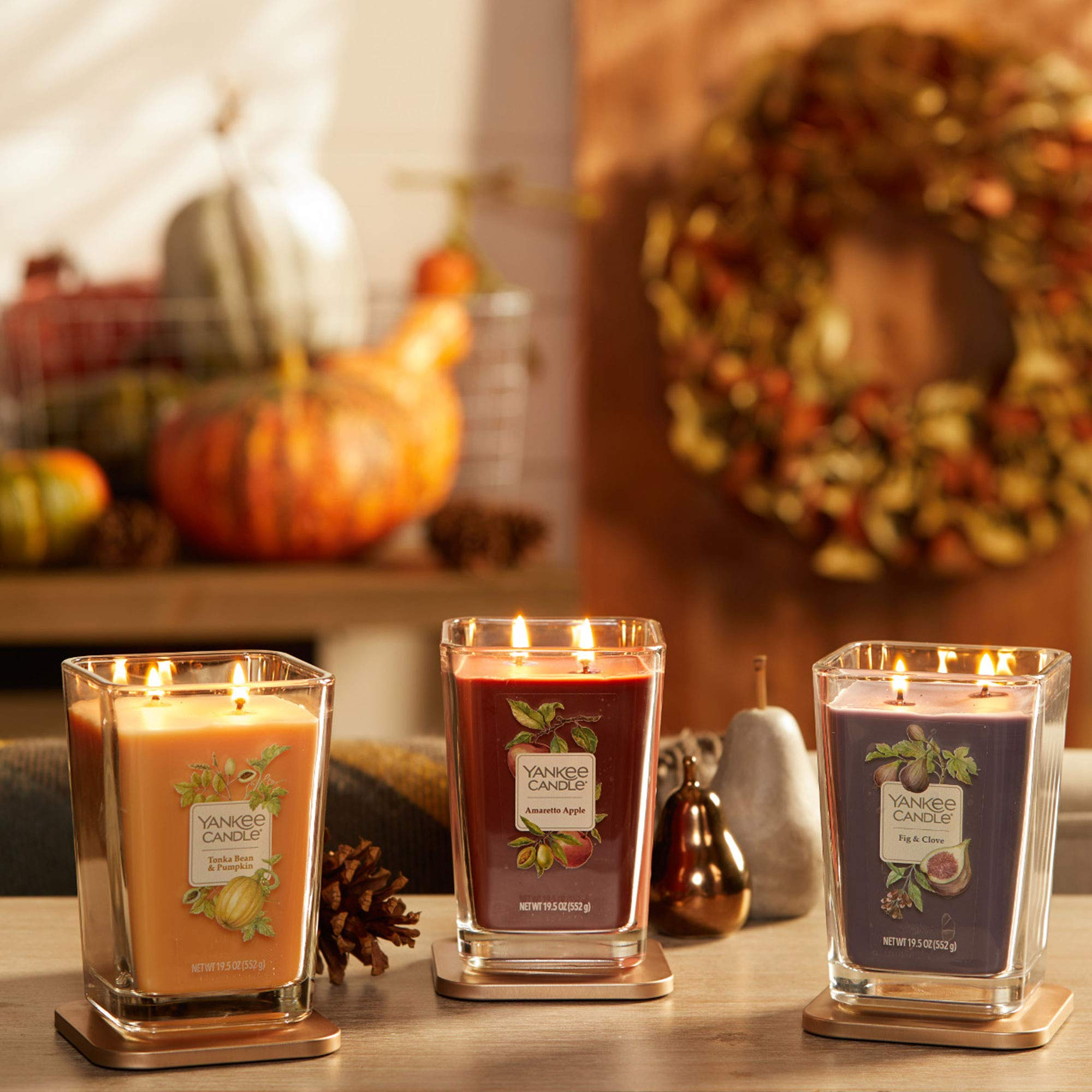 Yankee Candle Company Elevation Collection with Platform Lid, Large 2-Wick Square Candle| Amaretto Apple