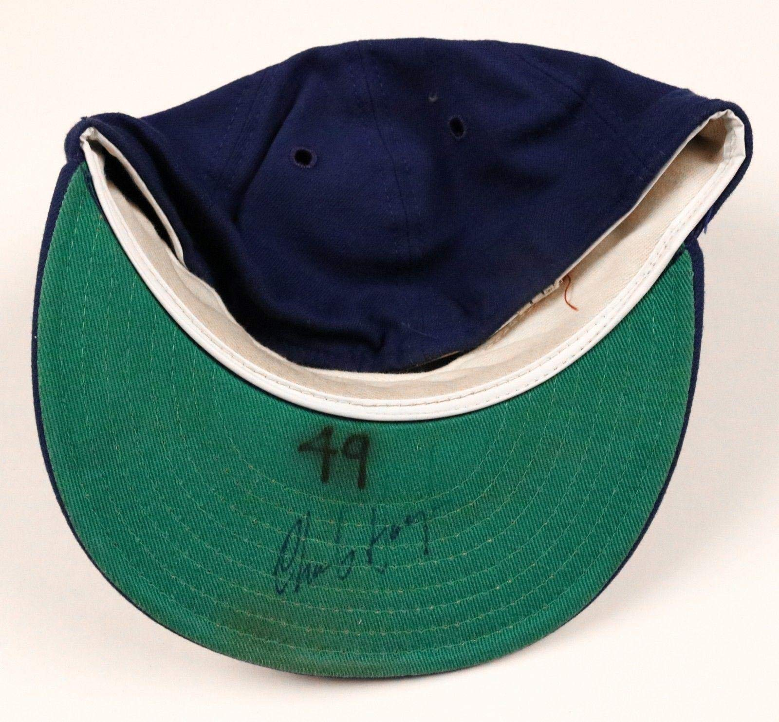 Charlie Hough Rangers Signed Game Used Worn Hat/Cap Game Used MLB Hats