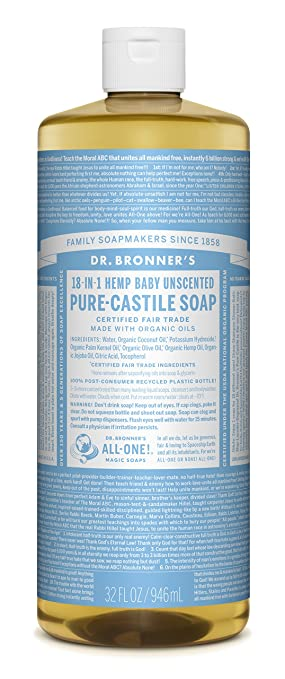 Dr. Bronner's Pure-Castile Liquid Soap - Baby Unscented, 32oz.