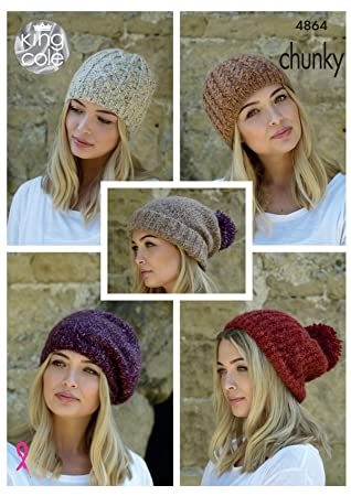 20871530 Amazon.com: King Cole Ladies Chunky Knitting Pattern Womens Hats - Slouchy  Rib or Cable Hat & Beret (4864): Home & Kitchen