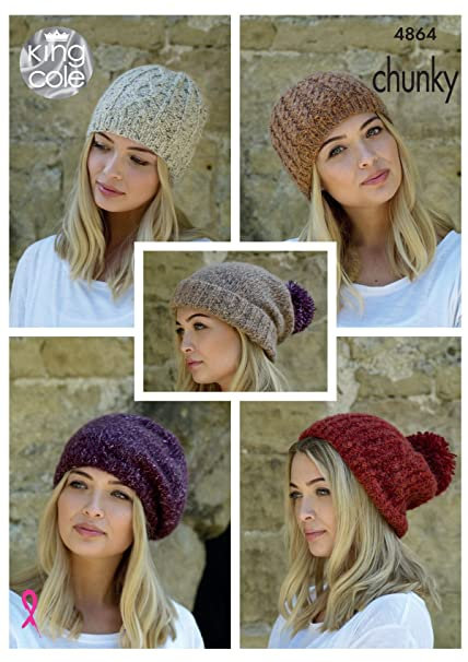 King Cole Ladies Chunky Knitting Pattern Womens Hats Slouchy Rib
