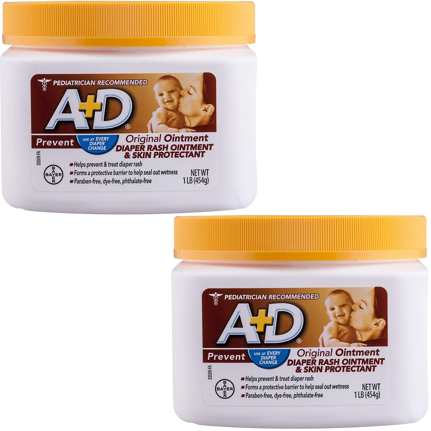 A+D Original Diaper Rash Ointment, Skin Protectant with Lanolin and Petrolatum, Seals Out Wetness, Helps Prevent Baby Diaper Rash, 1 Pound Jar. (2-Pack (1 Pound)) by A&D