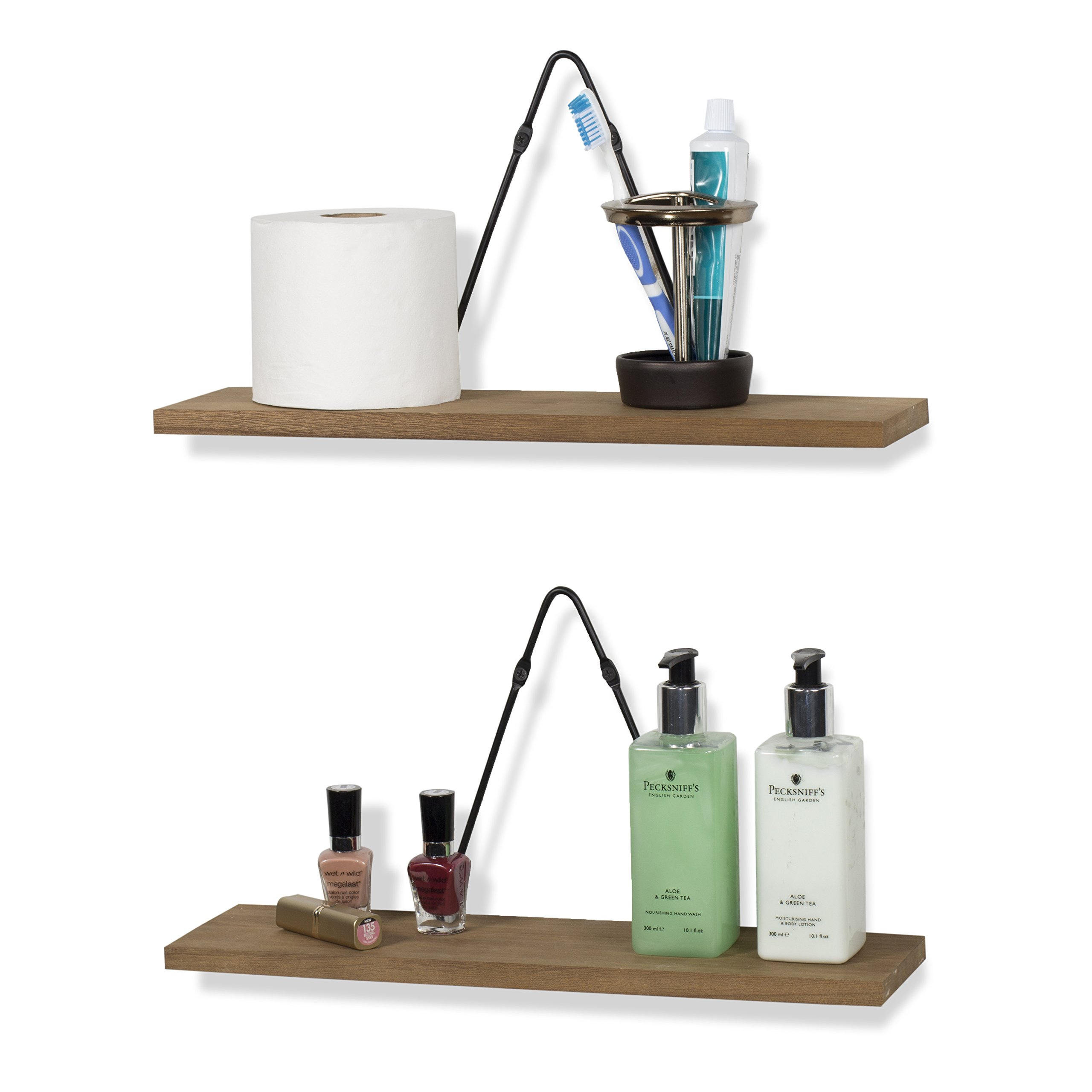 rustic state farmhouse decor wall mount floating shelves wood with triangle bracket set of 4. Black Bedroom Furniture Sets. Home Design Ideas