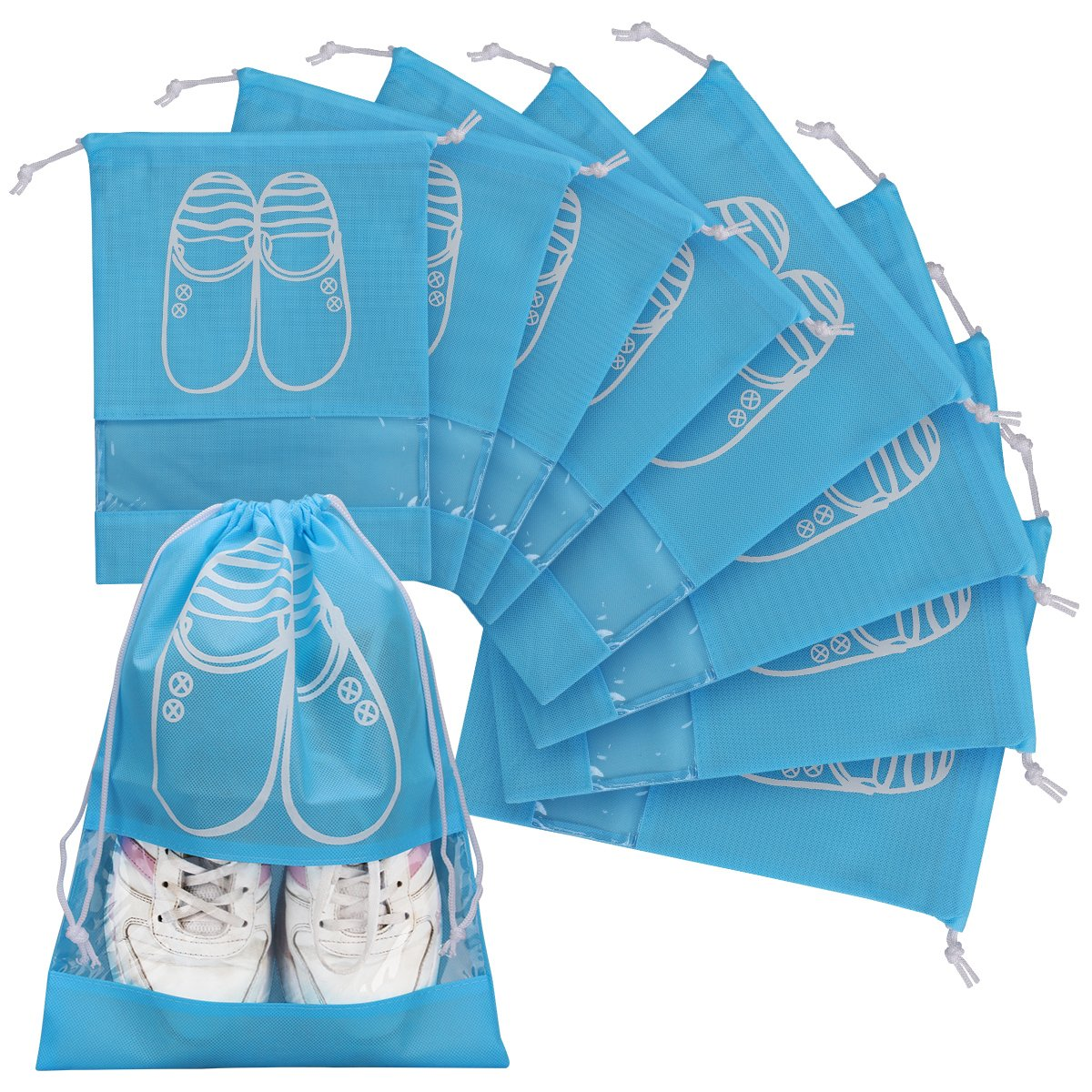 Promover Travel Shoe Bags Set of 8 Dust-proof Storage Bags Portable Drawstring Closure Clear Window for Men Women(Sky Blue)
