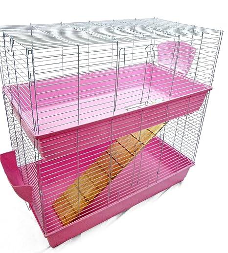 Jaula grande de interiores para conejo o cobaya, de dos niveles ...