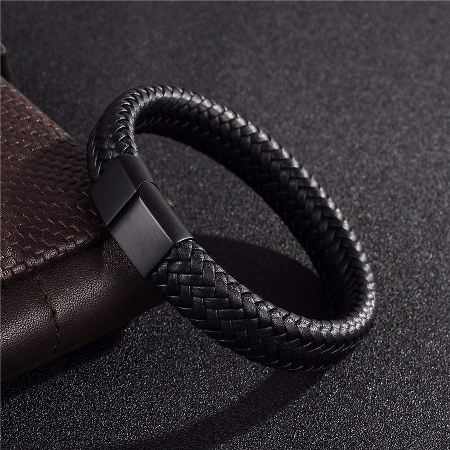 B07VJ59SBP Punk Men Jewelry Black/Brown Braided Leather Bracelet Stainless Steel Magnetic Clasp Bangles 18.5/22/20.5Cm,Brown B2,22Cm 61T8H2BMXvLL