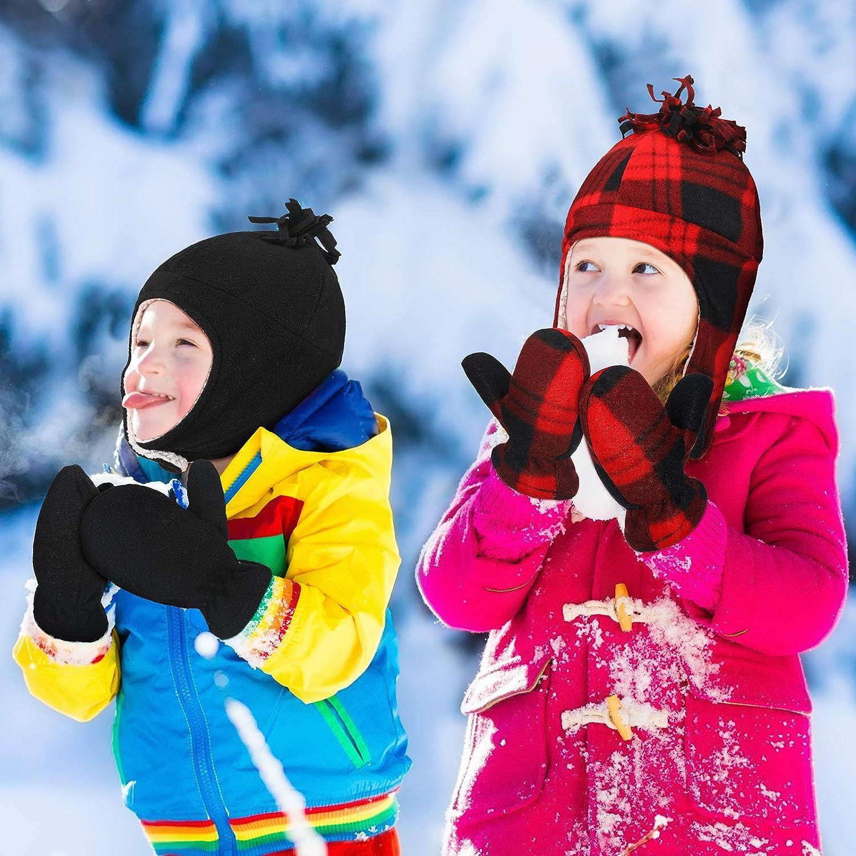 4 Pi/èces Kit Bonnets Gants en Molleton dhiver pour B/éb/é Casquette de Pilote Doubl/ée en Sherpa Bonnets Oreillette Chaude et Mitaines Thermiques pour Tout-Petits pour Enfants de 2 /à 3 Ans